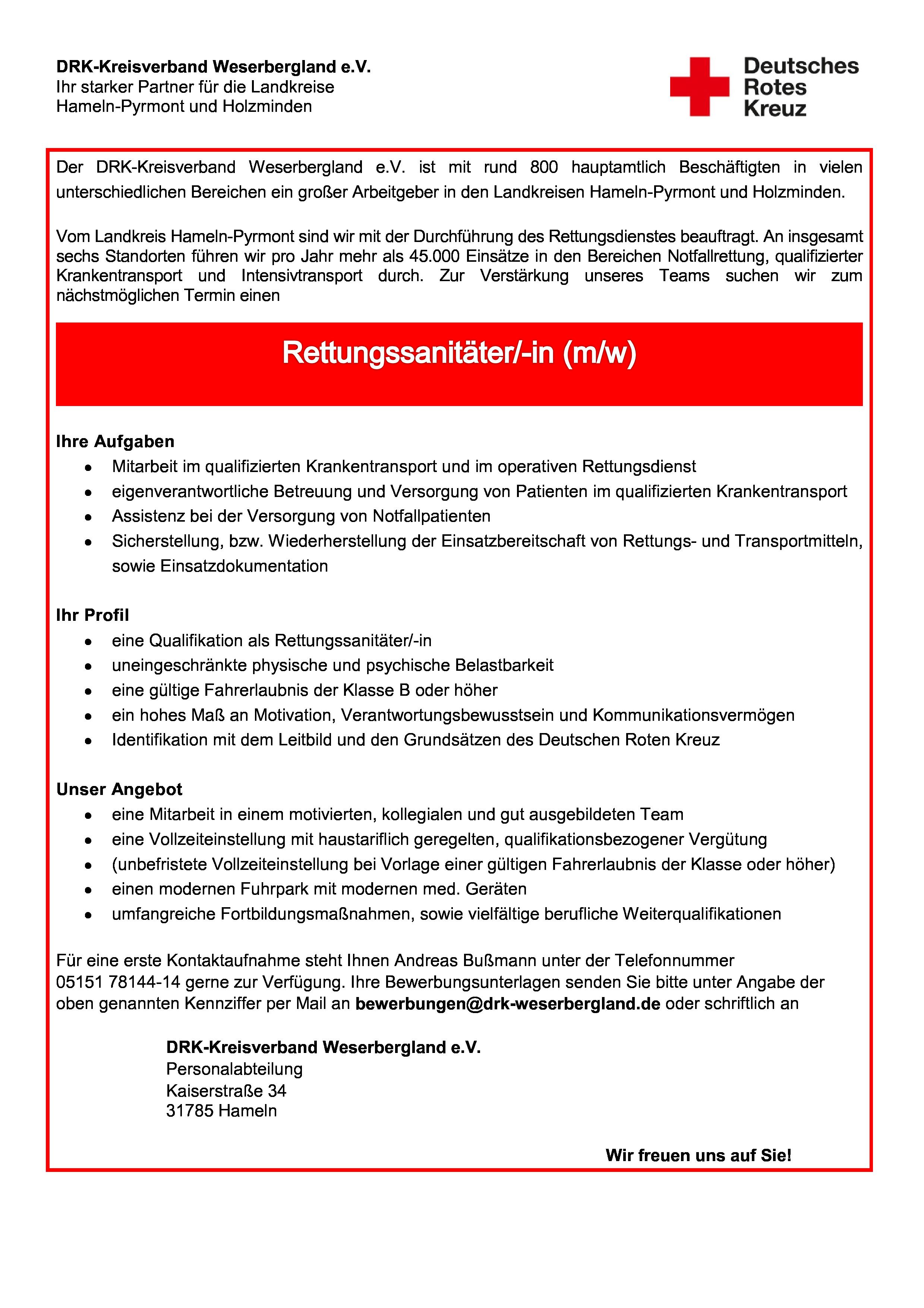 pdf herunterladen - Bewerbung Rettungssanitater